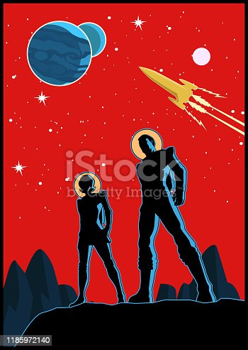 istock Vector Retro Astronaut Couple Poster 1185972140