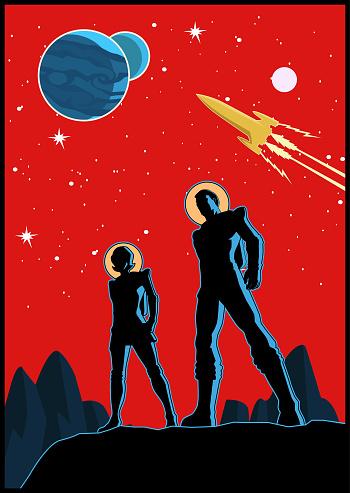 Vector Retro Astronaut Couple Poster