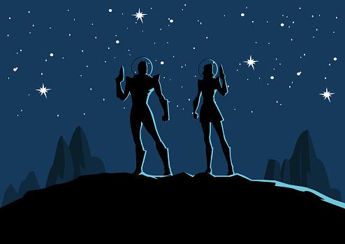 Vector Retro Astronaut Couple Silhouette in Space Illustration