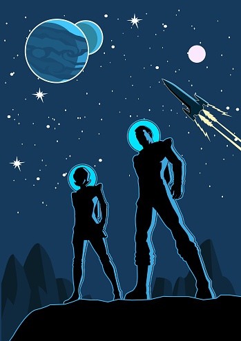 A retro style vector illustration of a couple of astronauts standing on a planet with outer space scene in the background. Layered easy to edit. Space available for your copy.