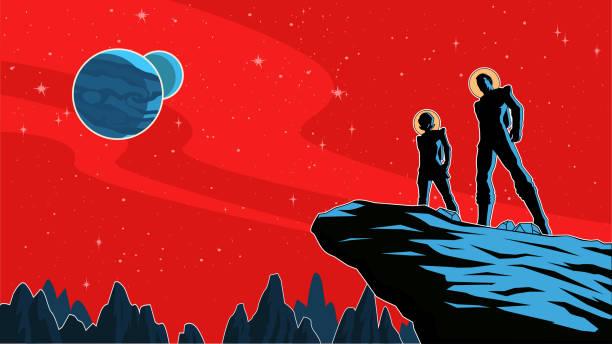 Vektor Retro Astronaut paar Silhouette auf einem Planeten Illustration – Vektorgrafik