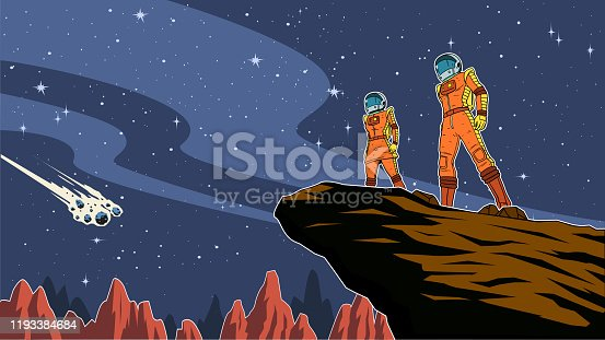 A retro style vector illustration of a couple of astronauts standing on a cliff with outer space background. Wide space available for your copy.