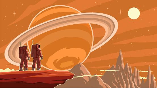 Vector Retro Astronaut Exploring Planet Stock Illustration