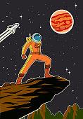 Vector Retro Astronaut in Space Poster Illustration
