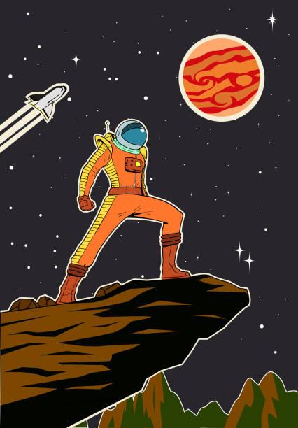 Vektor Retro Astronaut im Weltraum Poster Illustration – Vektorgrafik