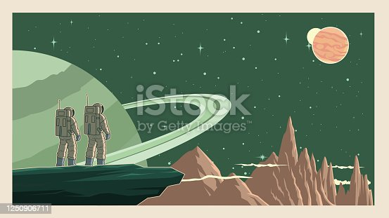 A retro style vector illustration of a couple of astronaut standing on a cliff on a planet with outer space in the background. Wide space available for your copy.