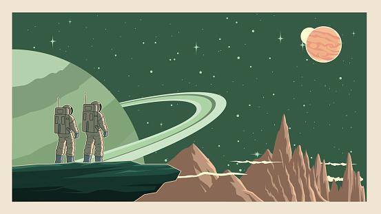 Vector Retro Astronaut in Space Stock Illustration