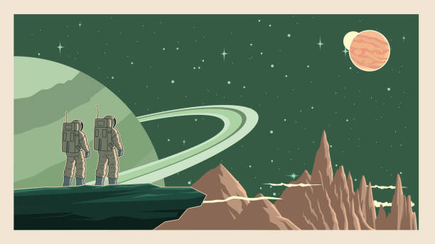 Vector Retro Astronaut in Space Stock Illustration A retro style vector illustration of a couple of astronaut standing on a cliff on a planet with outer space in the background. Wide space available for your copy. copy space stock illustrations