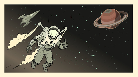 Vector Retro Astronaut Poster Stock Illustration