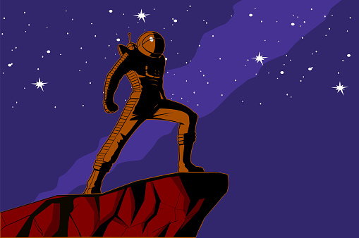 Vector Retro Astronaut with Stars Background Poster