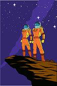 Vector Retro Astronauts Poster illustration