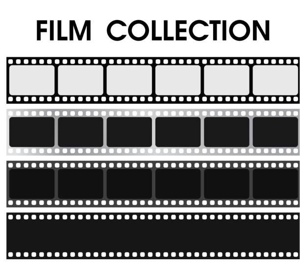 벡터 복고풍 흑백 필름 컬렉션입니다. - 영화 산업 stock illustrations