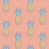 Vector Retro Bleach Peach Pineapples Design seamless pattern design. Perfect for fabric, scrapbooking and wallpaper projects.