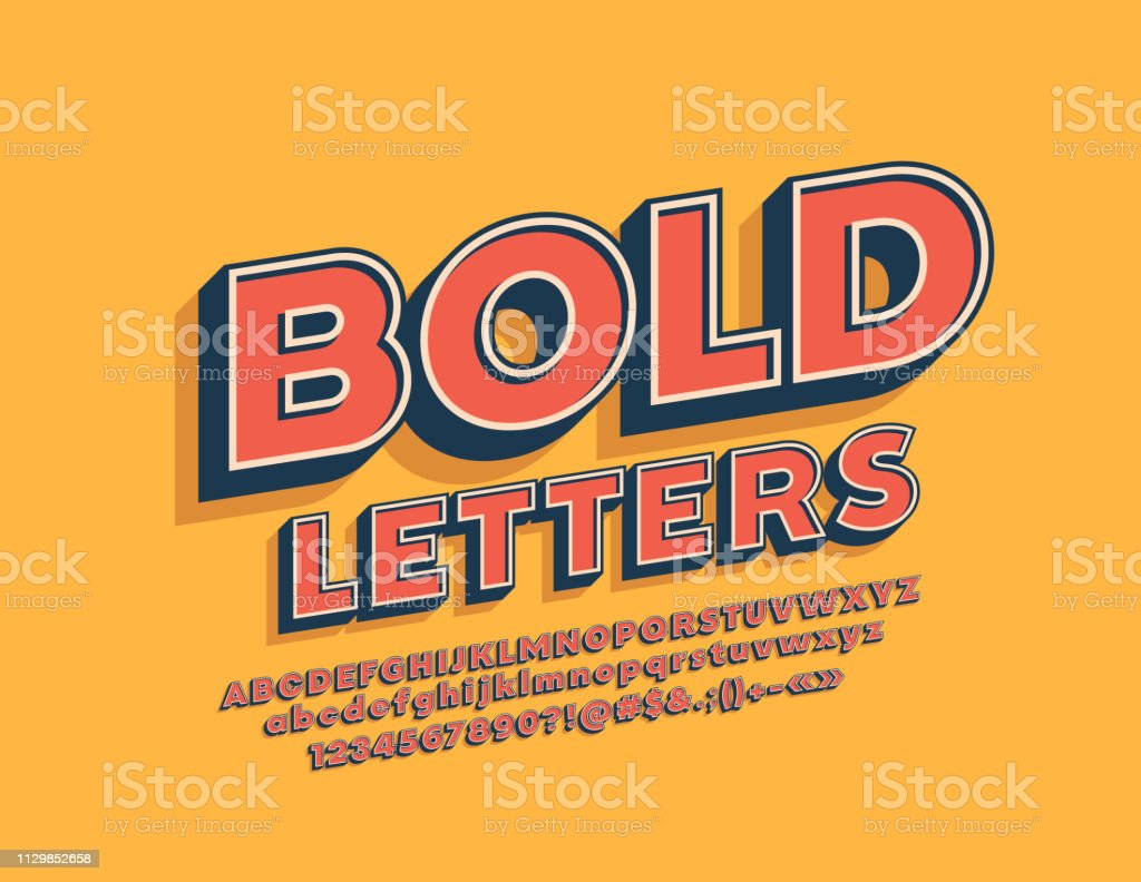 Vector Retro Bold Alphabet Set Rotated Stylish Font Stock
