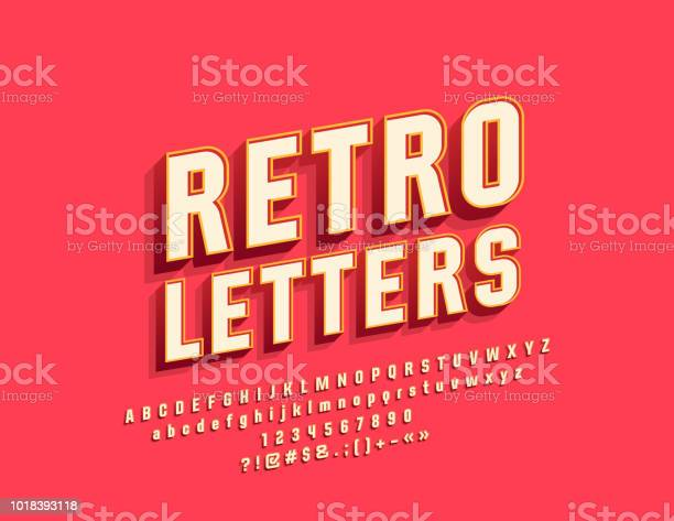 Vector retro bright alphabet letters numbers and symbols vector id1018393118?b=1&k=6&m=1018393118&s=612x612&h=8ewktde3 uk826bmfkzc933jdvb1zratt3hiu9dllh8=
