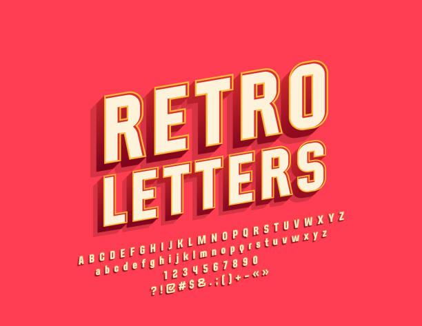 Vector Retro Bright Alphabet Letters, Numbers and Symbols Vintage Stylish Font for Logo, Emblem, Banner alphabet designs stock illustrations