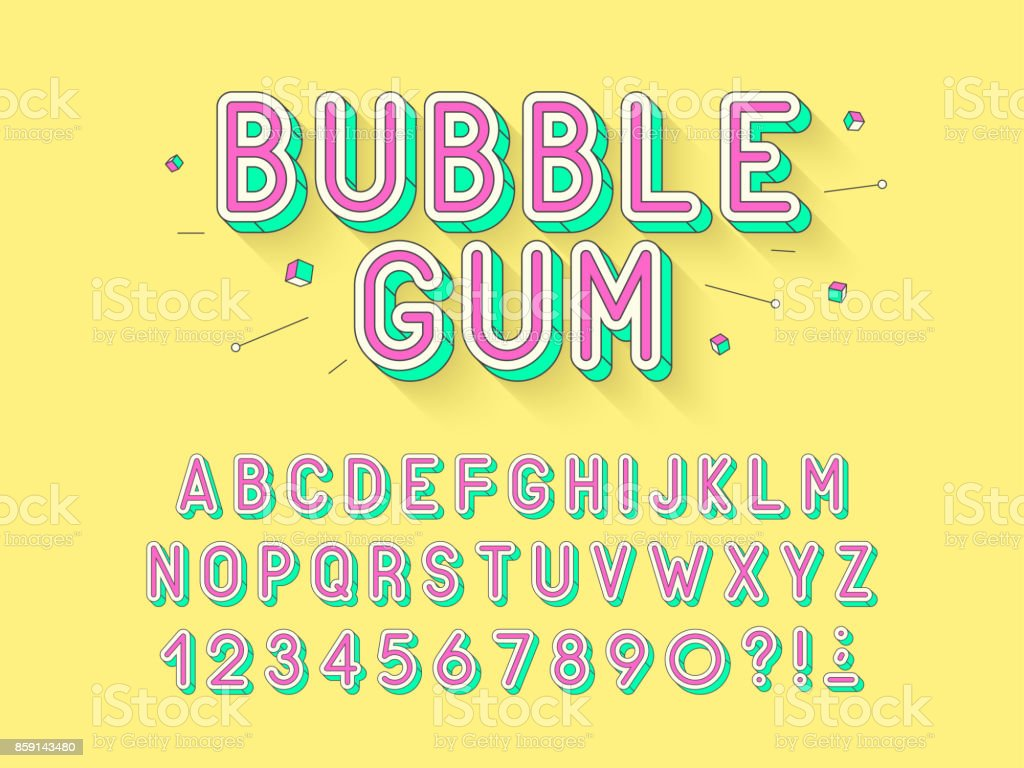 Vector retro Bubble gum bold font design, alphabet, typeface, typography. vector art illustration