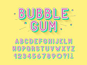 Vector retro Bubble gum bold font design, alphabet, typeface, typography.