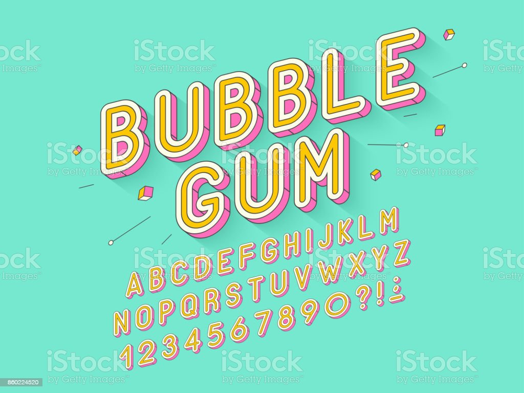 Vector retro Bubble gum bold font design, alphabet, typeface, typography