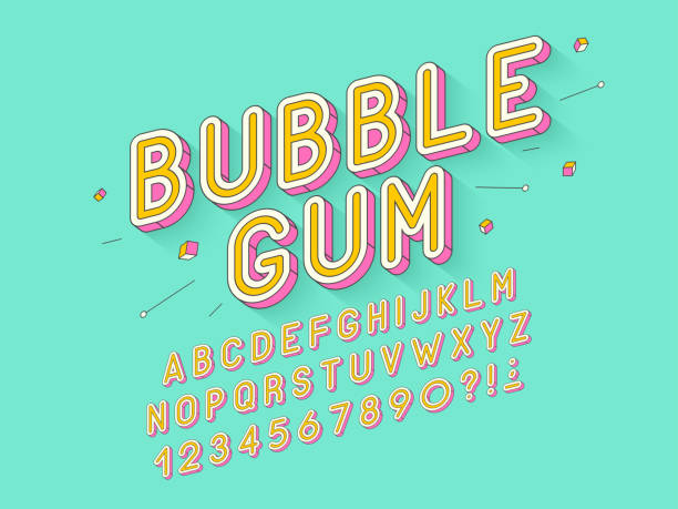 vector retro bubble gum bold font design, alphabet, typeface, typography - fonts and typography stock illustrations, clip art, cartoons, & icons