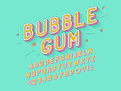 Vector retro Bubble gum bold font design, alphabet, typeface, typography