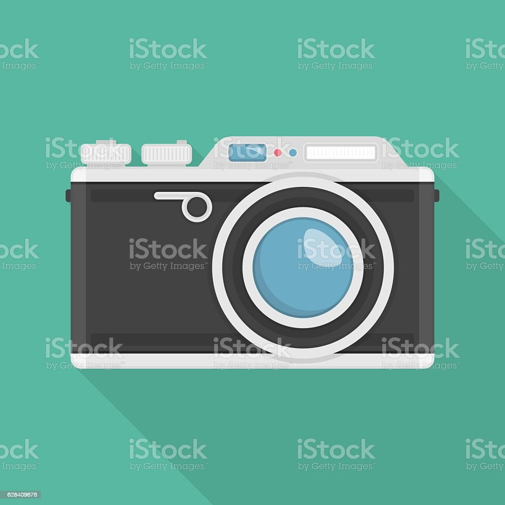 Vector retro camera. vector art illustration