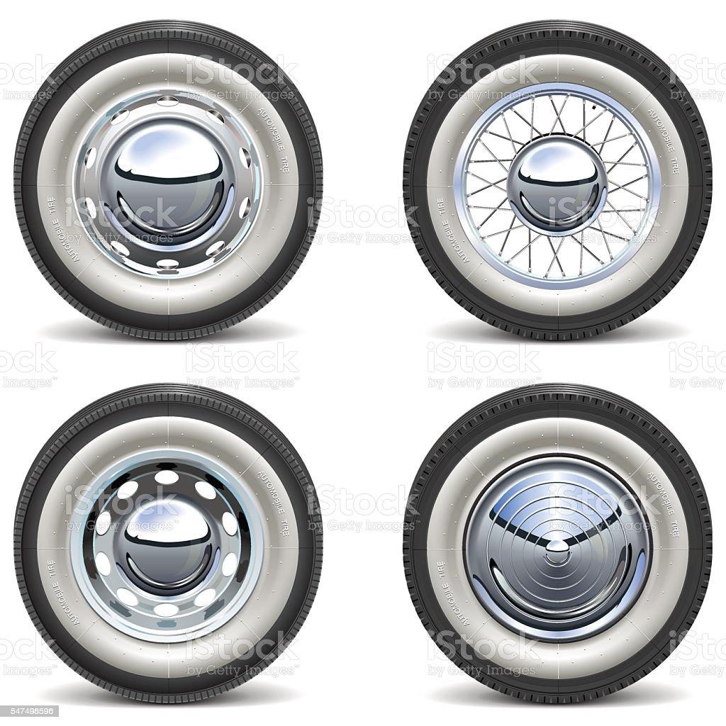 Vector Retro Car Wheels vector art illustration