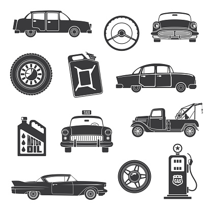Vector retro cars and items icons