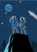 A retro cartoon style vector illustration of a couple of astronauts on a planet with outer space background.
