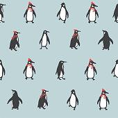 Vector retro color Christmas Penguin illustration seamless repeat pattern