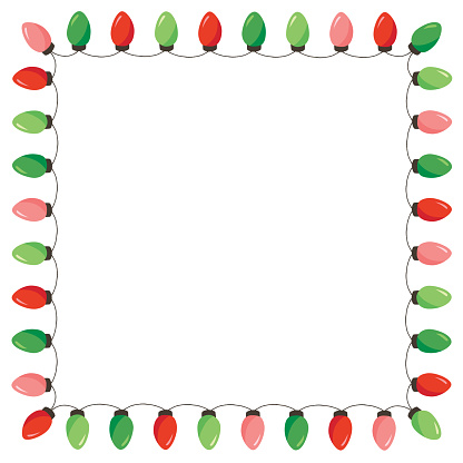 Vector Retro Colorful Holiday Christmas and New Year String Lights Isolated Square Frame on White Background