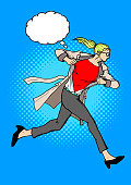 A retro comic book style vector illustration of a woman ripping her shirt and reveal superhero costume inside. Put your text ot logo on the chest or thought bubble available.