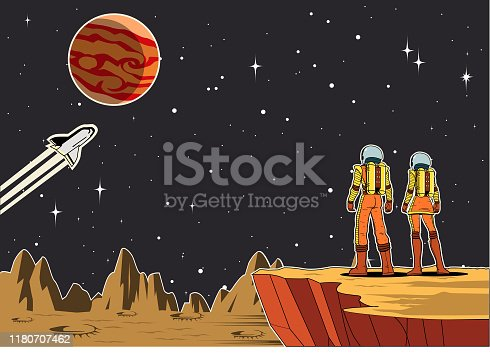 A retro style vector illustration of a couple of astronaut standing on a cliff on a planet while looking at outer space. Wide space available for your copy.