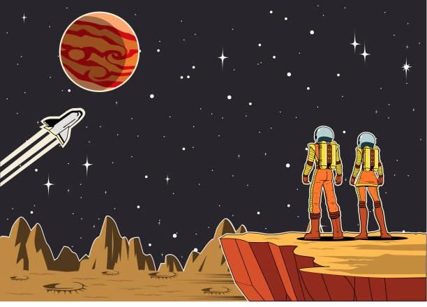 Vektor Retro Paar Astronaut auf einem Planeten Illustration – Vektorgrafik