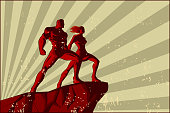 a retro propaganda style illustration of a couple standing on top of a cliff with sunburst in the background.