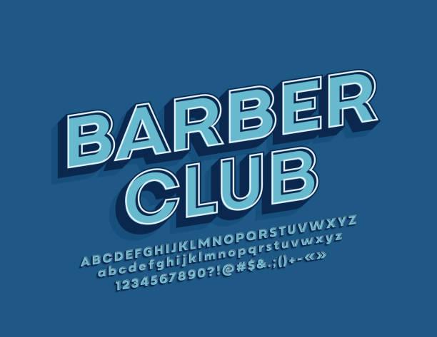 3d フォントとベクトルレトロなデザインバナー理髪クラブ。ヒップスタースタイルのアルファベット - 美容室 3d点のイラスト素材/クリップアート素材/マンガ素材/アイコン素材