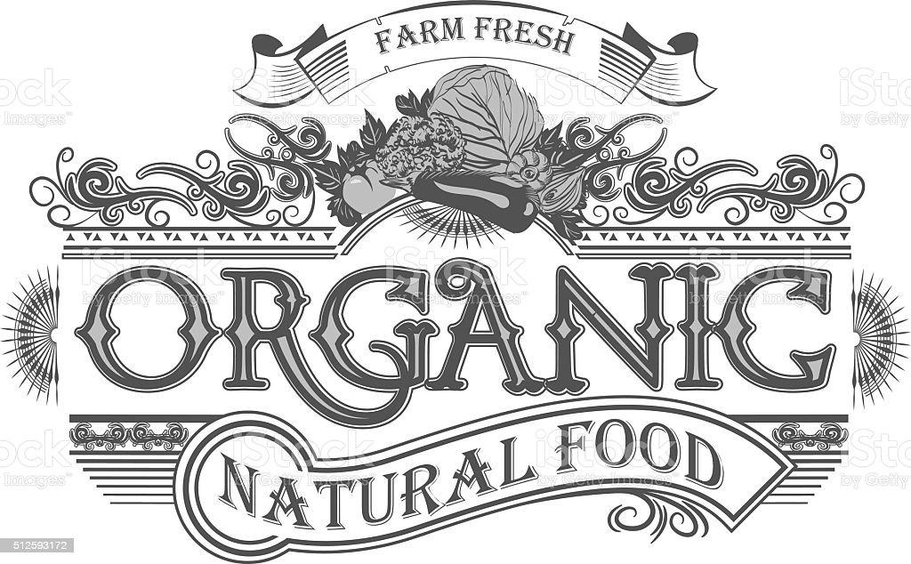 Vector Retro Farm Fresh Emblem Vintage Organic Food Stock ...  Retro Clip Art Food