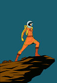 A retro style pop art illustration of a female astronaut standing on a cliff, isolated in color. Layered, easy to edit.