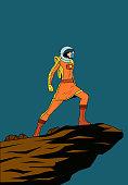 Vector Retro Female Astronaut Illustration