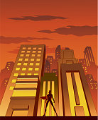 A retro style illustration of a female superhero in sillhouette with skyscraper in the background. Wide space available for your copy.