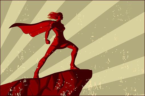 Vector Retro Female Superhero Poster