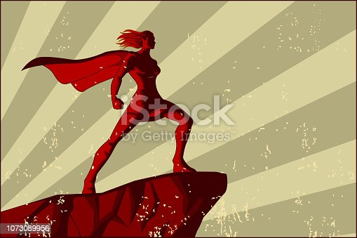 A retro style vector poster illustration of a female superhero standing on top of a cliff, with sunburst on the background and grunge effect on the front.
