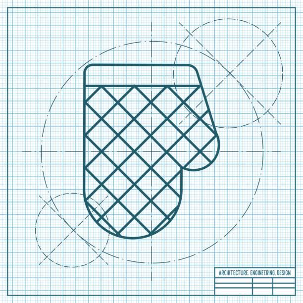 vektor retro flache küche und potholder handschuh - filzarbeiten stock-grafiken, -clipart, -cartoons und -symbole