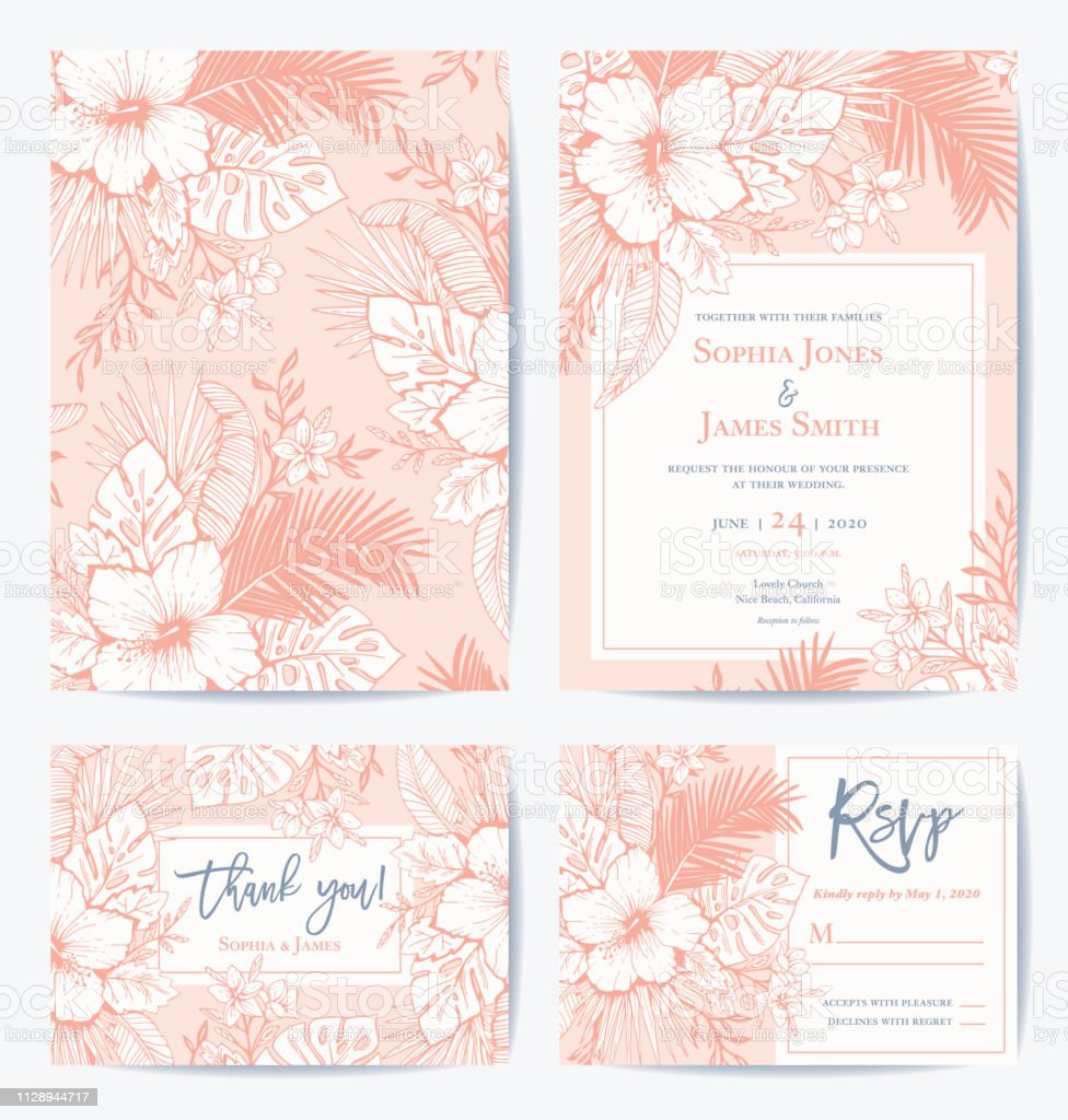 Vector Retro Floral Exotic Tropical Wedding Invitation Thank