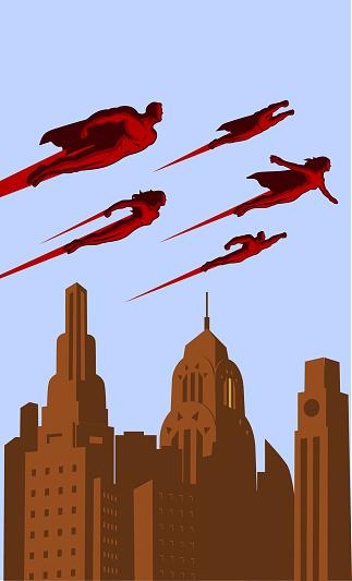Vector Retro Flying Superhero Team in a City Poster
