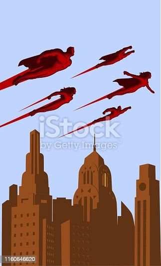 A retro style vector illustration of a team of superheroes flying above a city.