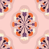 Vector Retro Hand Drawn Meadow Florals Symmetrical Design seamless pattern background. Perfect for fabric, scrapbooking and wallpaper projects.