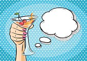 Vector retro hand holding glass of cocktail with speech bubble