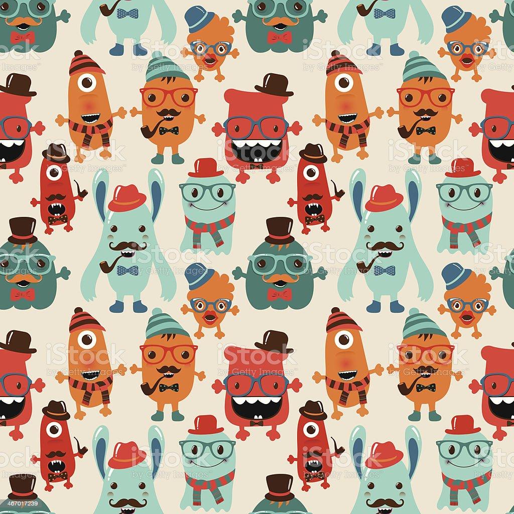 Vector Retro Hipster Monsters Seamless Pattern vector art illustration