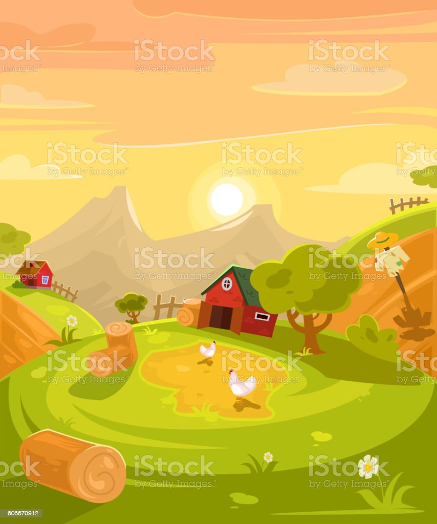 Vector retro illustration of the countryside. vector art illustration